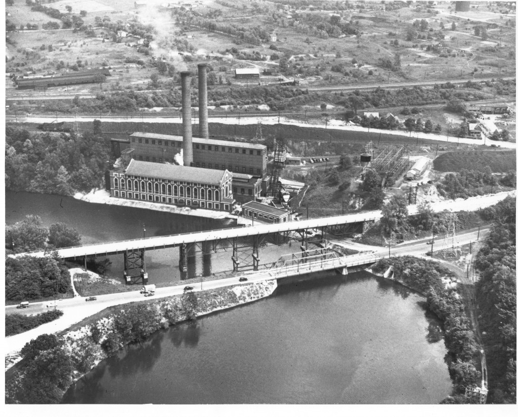 Aerial view of the plant taken prior to 1945. Notice the high bridge is still up.