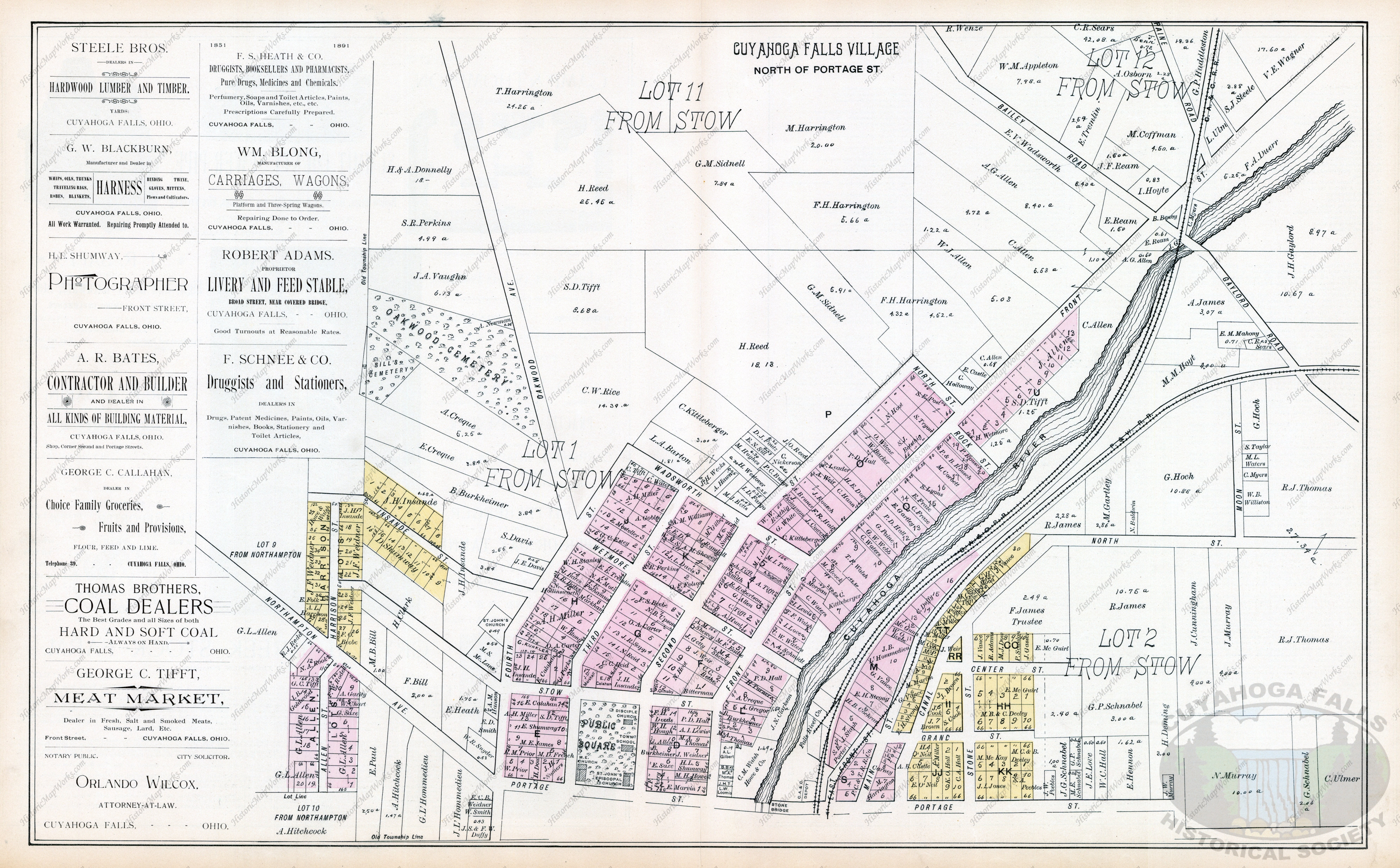 1891 Map Of Cuyahoga Falls Northampton Stow Cuyahoga